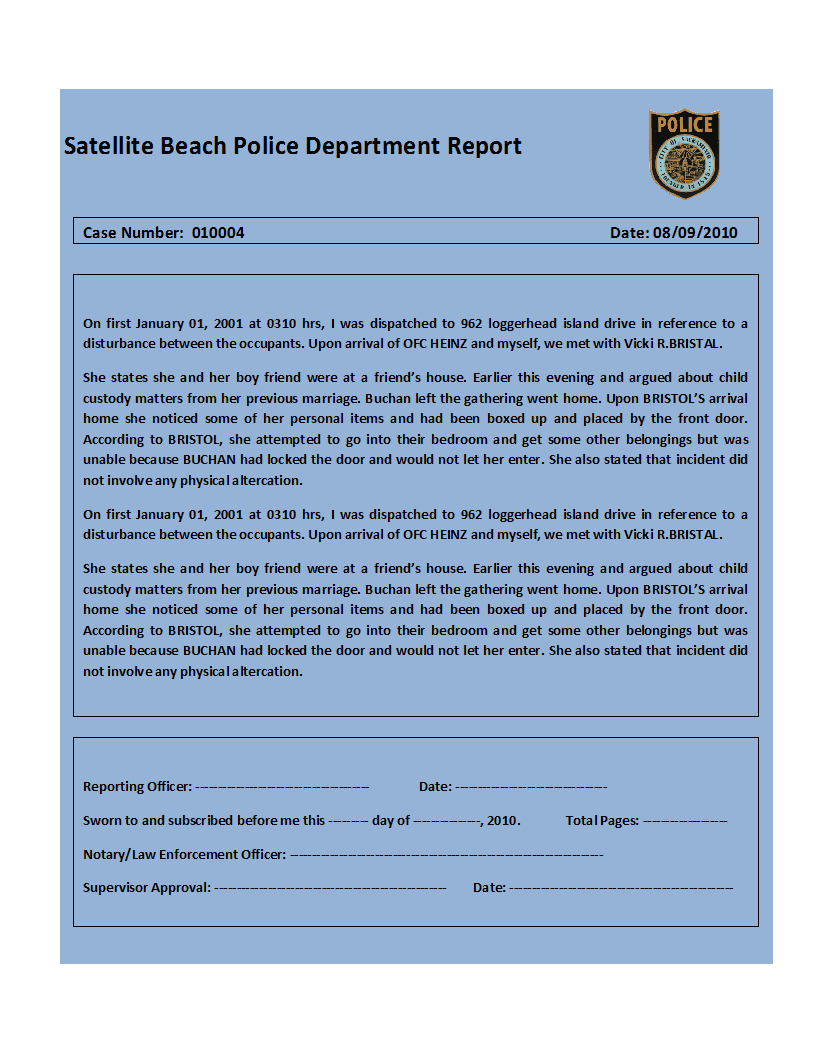 top 4 samples of police report templates word templates excel templates. Black Bedroom Furniture Sets. Home Design Ideas