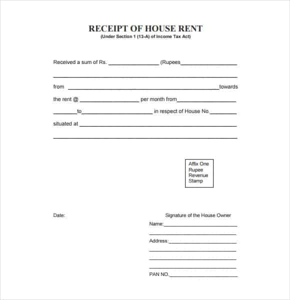 top 5 samples of rent receipt templates word templates