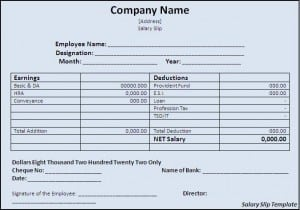 Amazing Top 5 Formats Of Salary Slip Templates   Word Templates, Excel Templates  Example Payslip