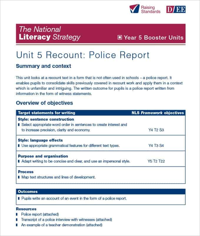 Top 4 Samples Of Police Report Templates - Word Templates, Excel