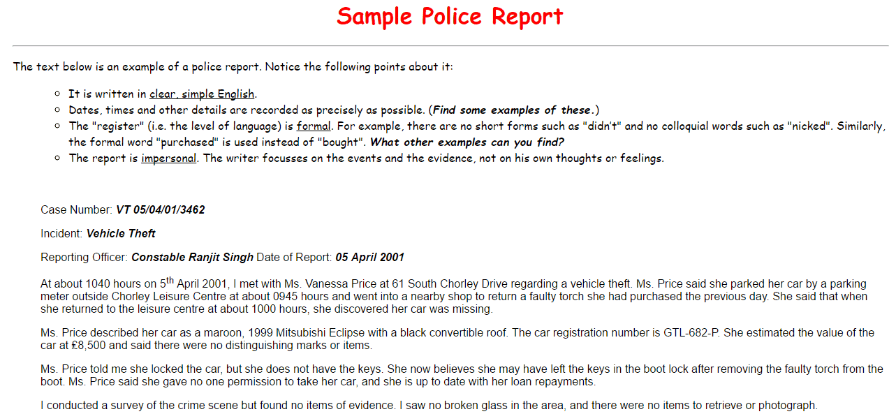 Top 4 Samples Of Police Report Templates Word Templates Excel – Sample of a Police Report