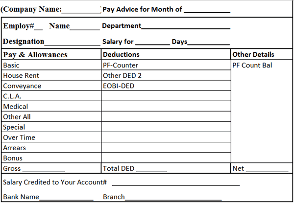 Payslip Format In Excel Free Download - Arch-times.com