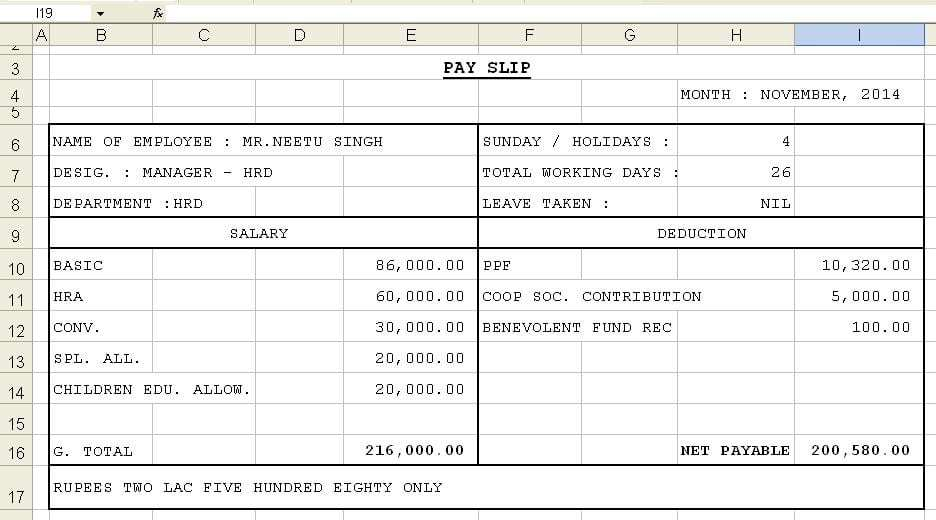 Top 5 Formats Of Salary Slip Templates Word Templates Excel – Employee Payment Slip Format
