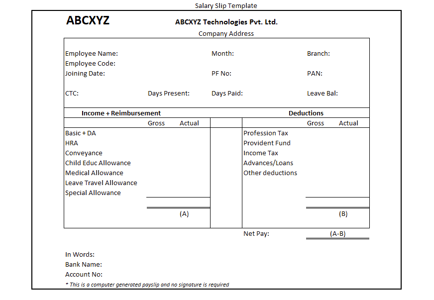 Top 5 Formats Of Salary Slip Templates Word Templates Excel – Simple Payslip Template