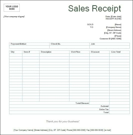 Top 5 Layouts For Sales Receipt Templates - Word Templates, Excel ...