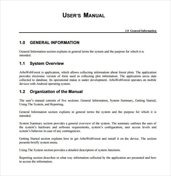 Top 5 samples of user manual templates word templates for Franchise manual template free