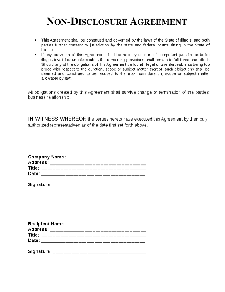 Top 5 free non disclosure agreement templates word for Short non disclosure agreement template