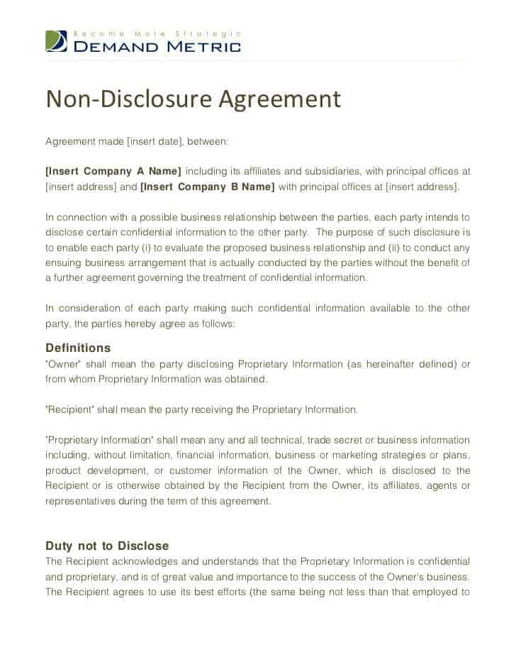 Top 5 Free NonDisclosure Agreement Templates Word Templates – Standard Confidentiality Agreement