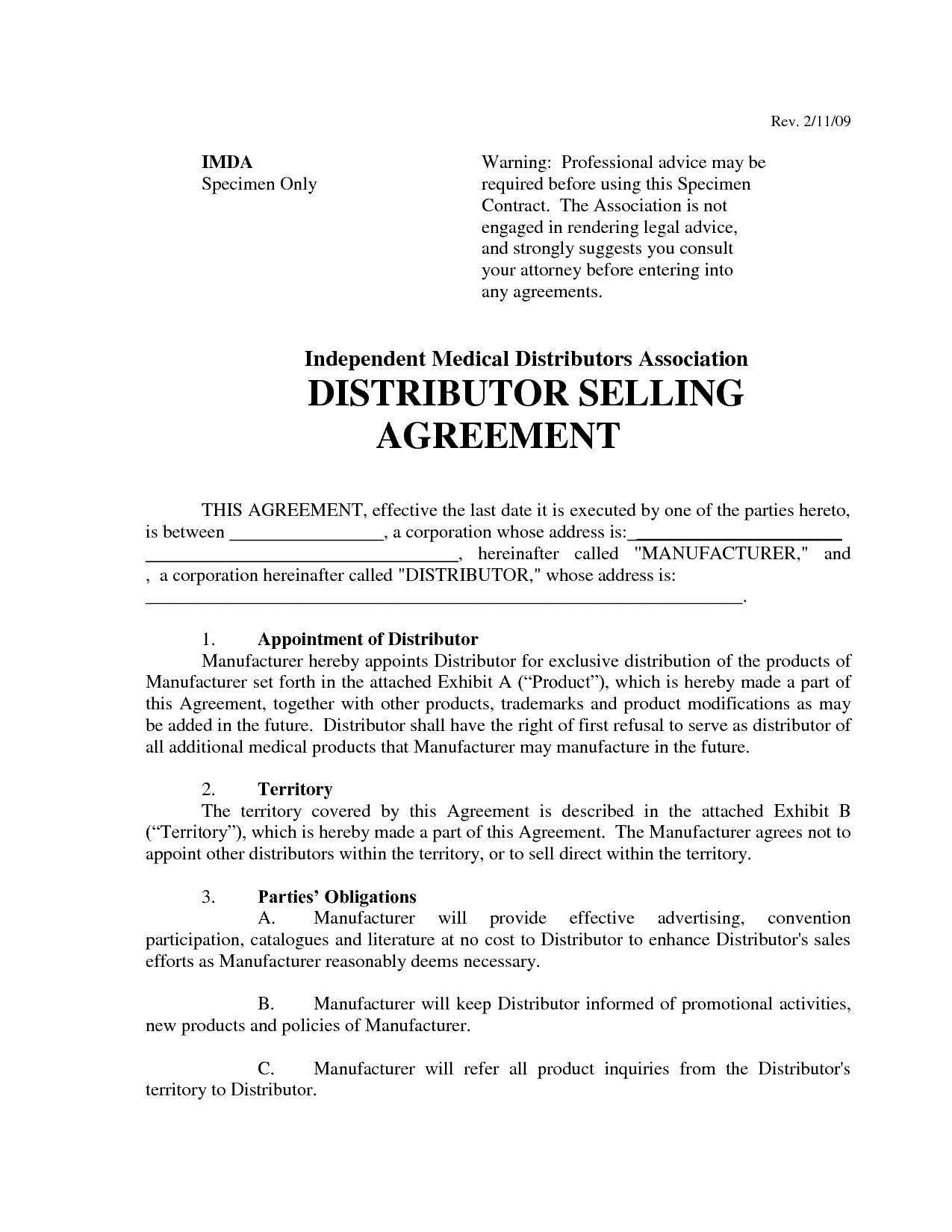 Top 5 free distributor agreement templates word for Exclusivity letter template