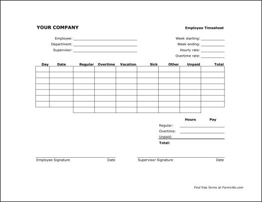free time sheets templates