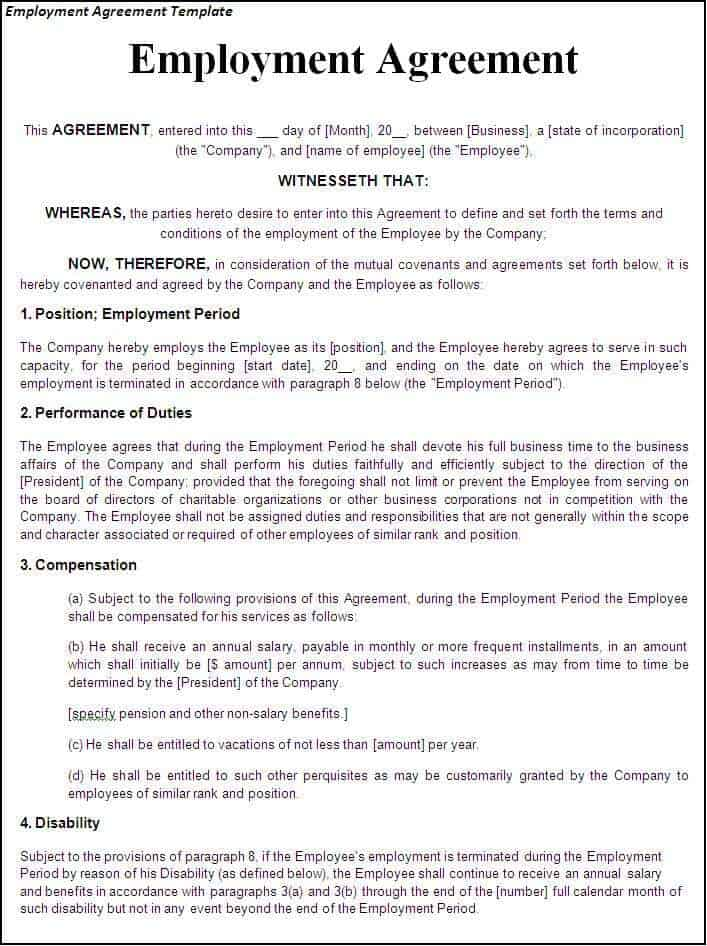 Top  Free Employment Agreement Templates  Word Templates Excel