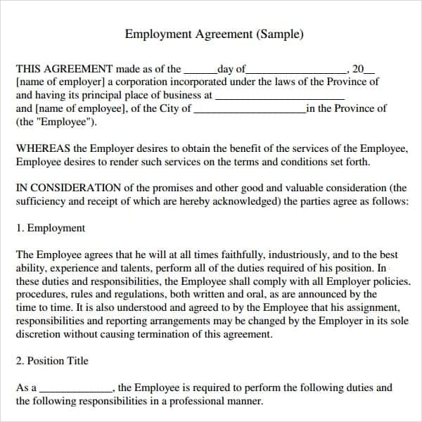 Top 5 Free Employment Agreement Templates - Word Templates, Excel