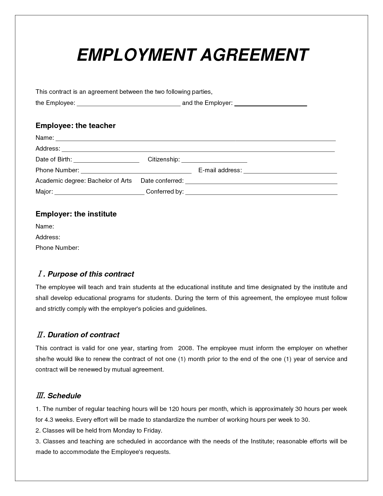 Top 5 free employment agreement templates word templates for Basic contract of employment template