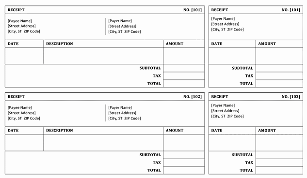 Top 4 Layouts For Bill receipt Templates Word Templates Excel