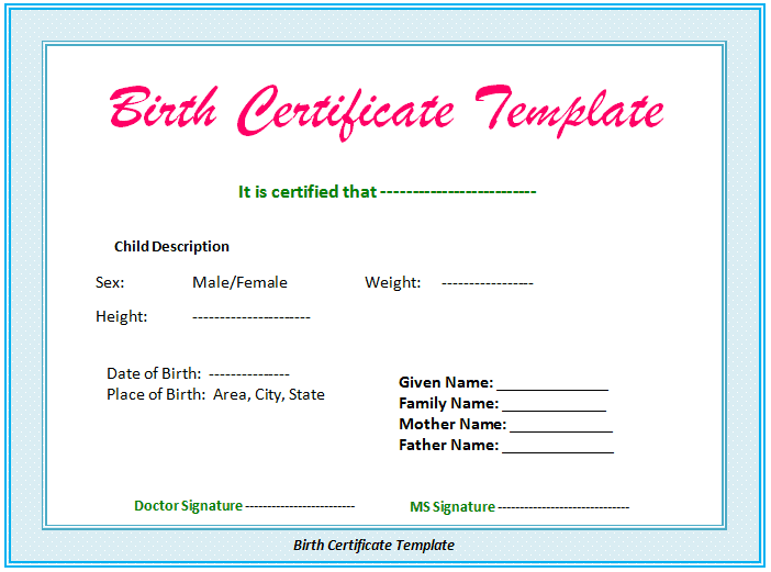 top 5 birth certificate templates word templates excel