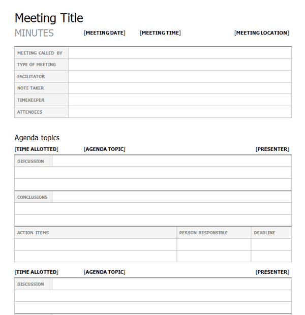 Top 5 free meeting minutes templates word templates for Minute formats templates