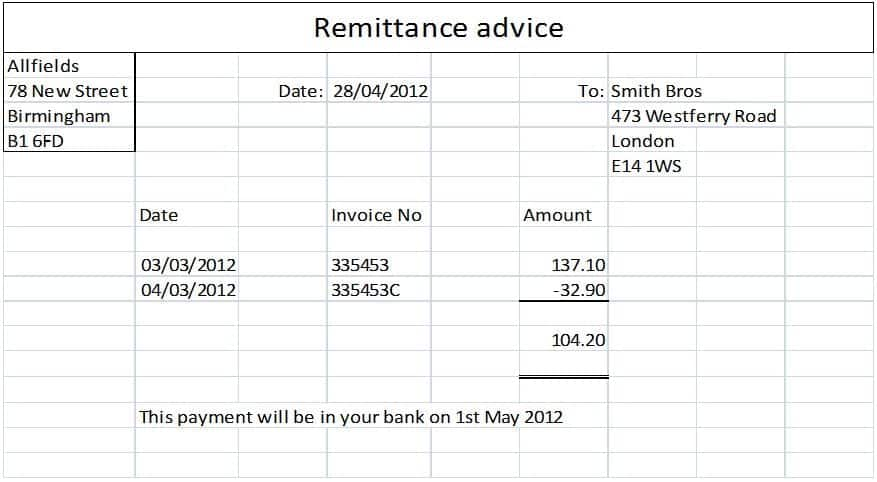 remittance advice template | datariouruguay