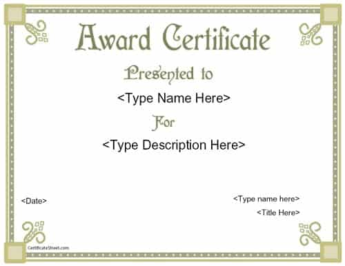 Top 4 Free Award Certificate Templates Word Templates Excel – Free Award Template