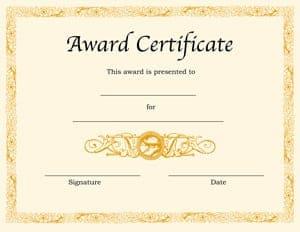 Top 4 Free Award Certificate Templates   Word Templates, Excel Templates  Certificate Of Achievement Templates Free