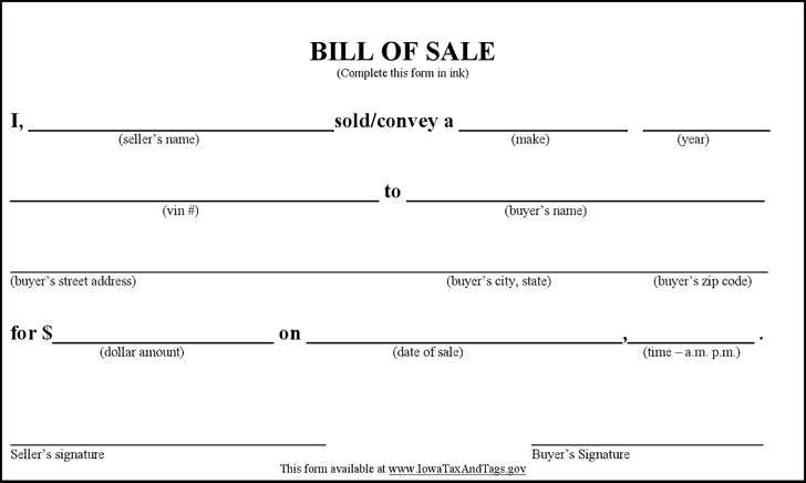 Adaptable image within printable bill of sale template