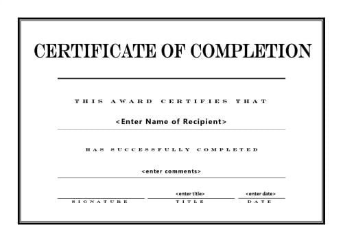 Top 5 Free Certificate Of Completion Templates   Word Templates, Excel  Templates  Project Completion Certificate Format