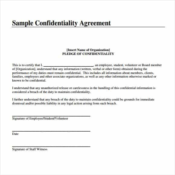 Top  Formats Of Confidentiality Agreement Templates  Word