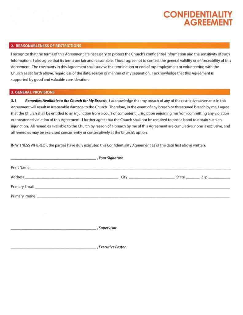 Top 4 Formats Of Confidentiality Agreement Templates Word – Confidentiality Agreement Form
