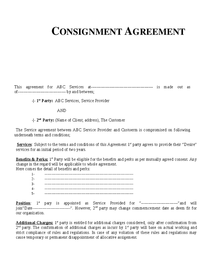 Top 5 free consignment agreement templates word for Free consignment stock agreement template