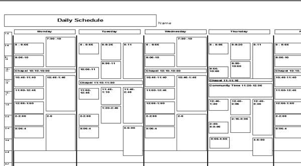 Weekly Itinerary Samples