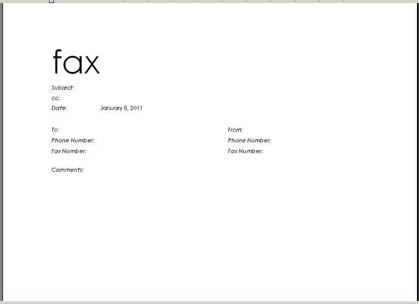 Word Excel Templates  Fax Cover Sheet In Word
