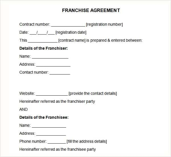 Top  Samples Of Franchise Agreement Templates  Word Templates