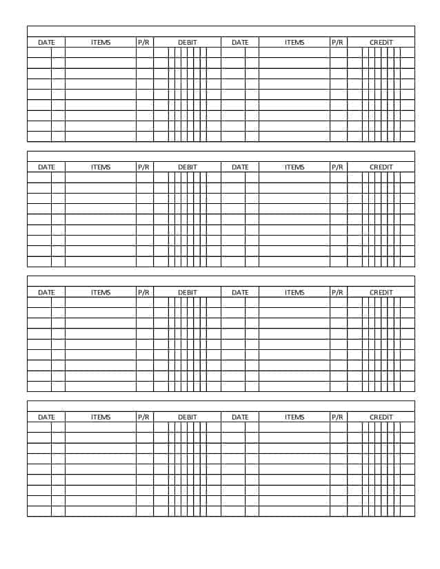Word Excel Templates  General Ledger Form