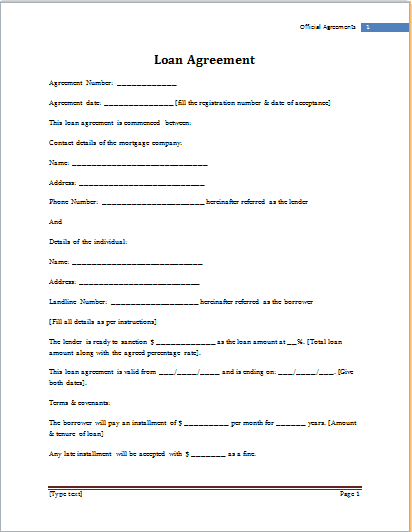 Top 5 Free Loan Agreement Templates - Word Templates ...
