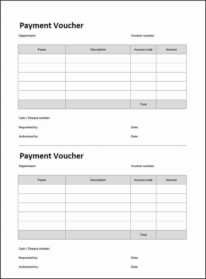 Top 5 Free Payment Voucher Templates Word Templates