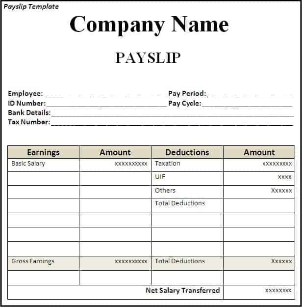 Top 5 Free Payslip Templates Word Templates Excel Templates – Sample Payslips