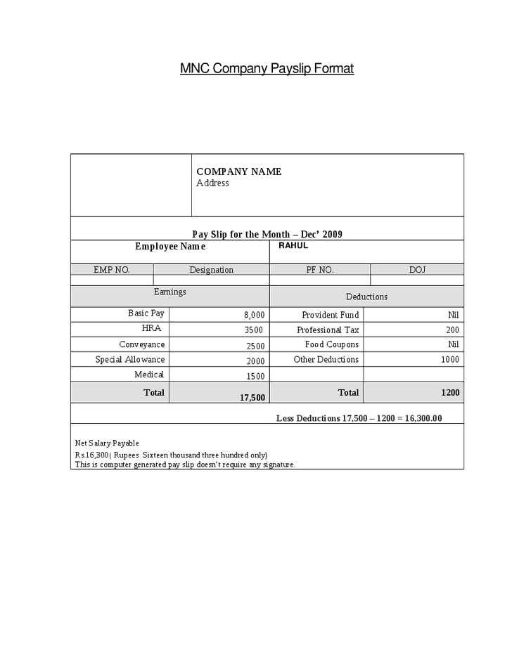 Word Excel Templates  Free Wage Slips Template