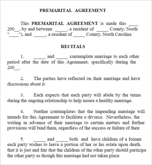 Top  Resources To Get Free Prenuptial Agreement Templates  Word