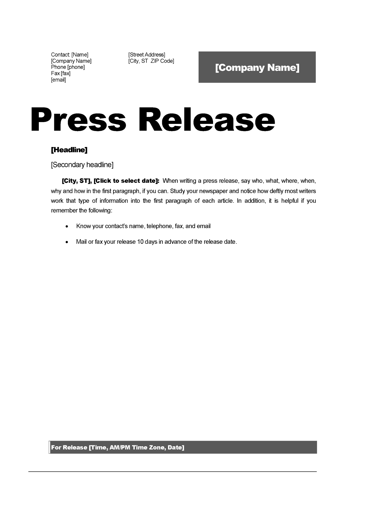 Top 5 resources to get free press release templates word for Template of a press release