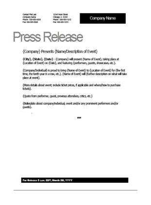 Top 5 resources to get free press release templates word for Press release template for event
