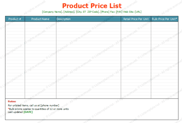Top 5 Resources To Get Free Price List Templates   Word Templates, Excel  Templates