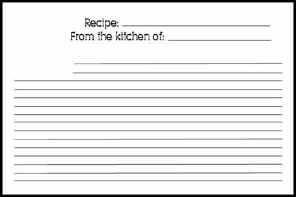 Word Recipe Card