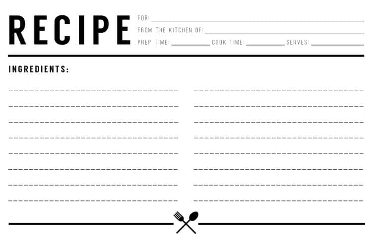 Top 5 resources to get free recipe card templates word for Template for recipes in word