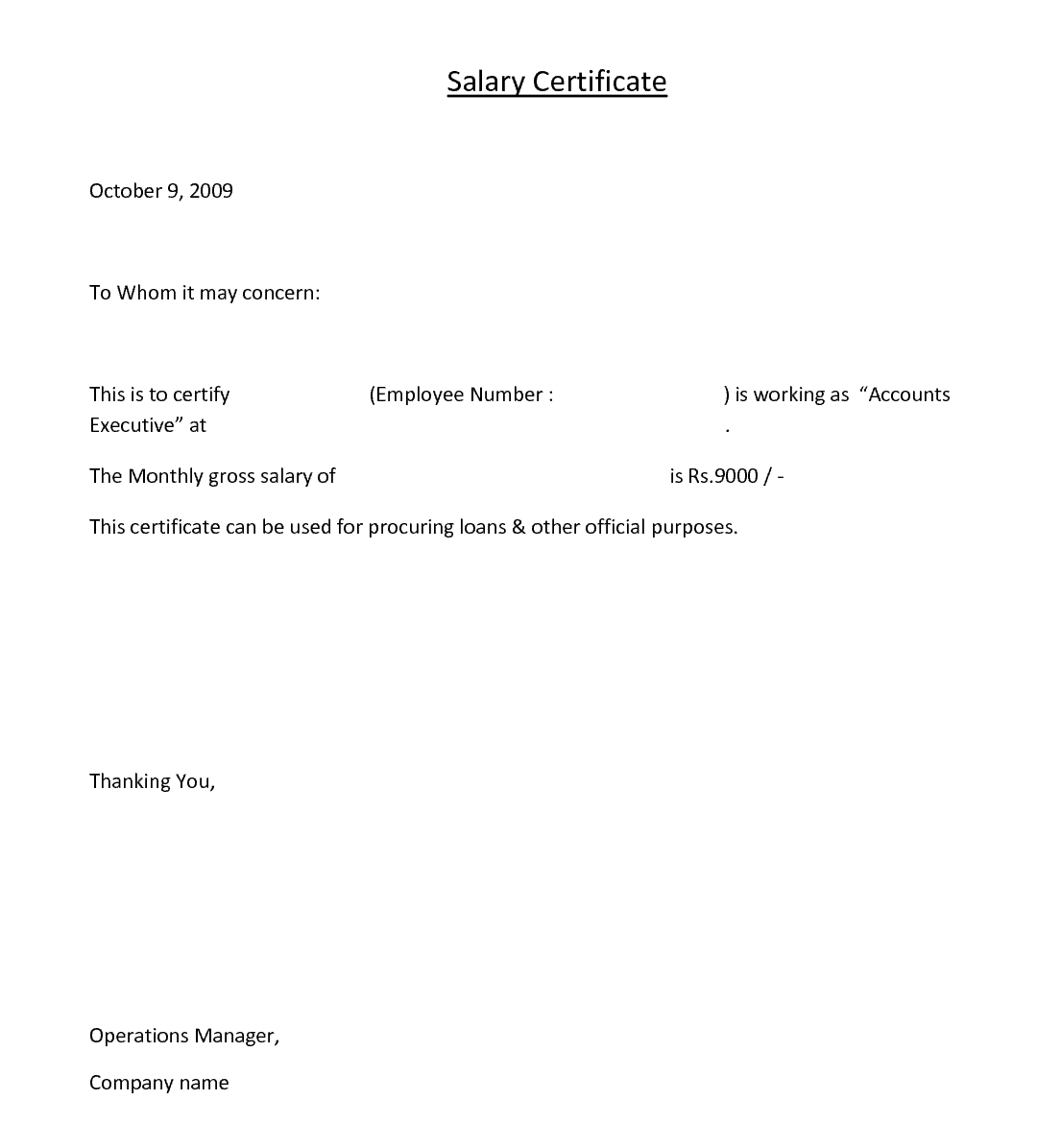 Salary Request Letter Free Sample Letters Salary Certificate Letter