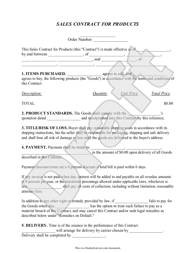 Sale Contract Sample. Sample Sales Contract Template 7+ Free ...
