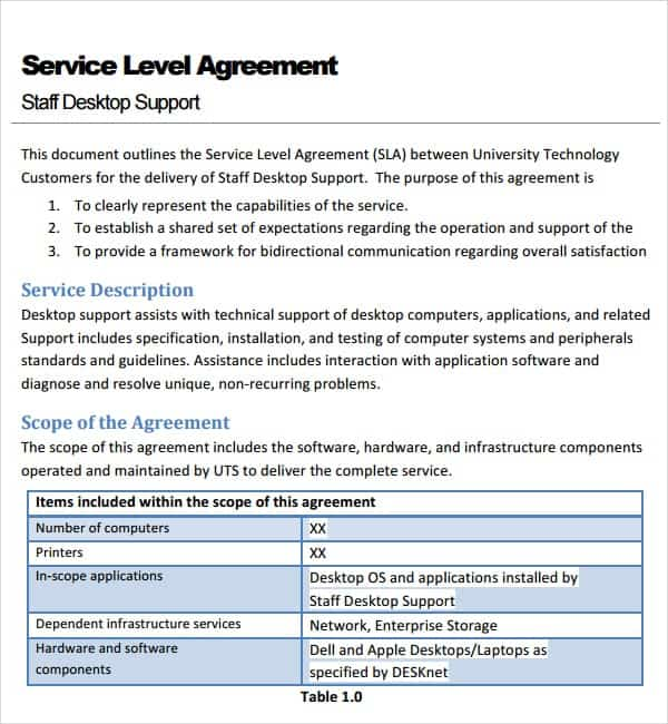 Service Contract Template  Service Level Agreement Template Top