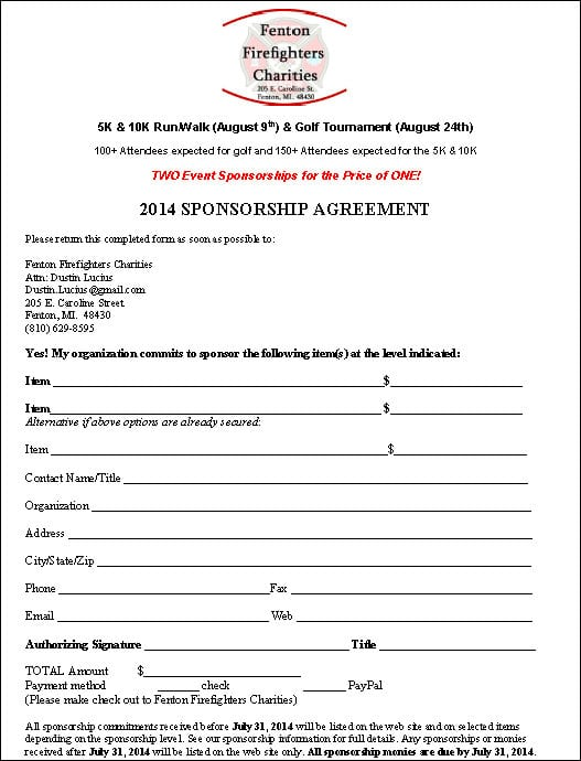 Top 5 Resuorces To Get Free Sponsorship Agreement Templates Word – Sponsorship Agreement Template