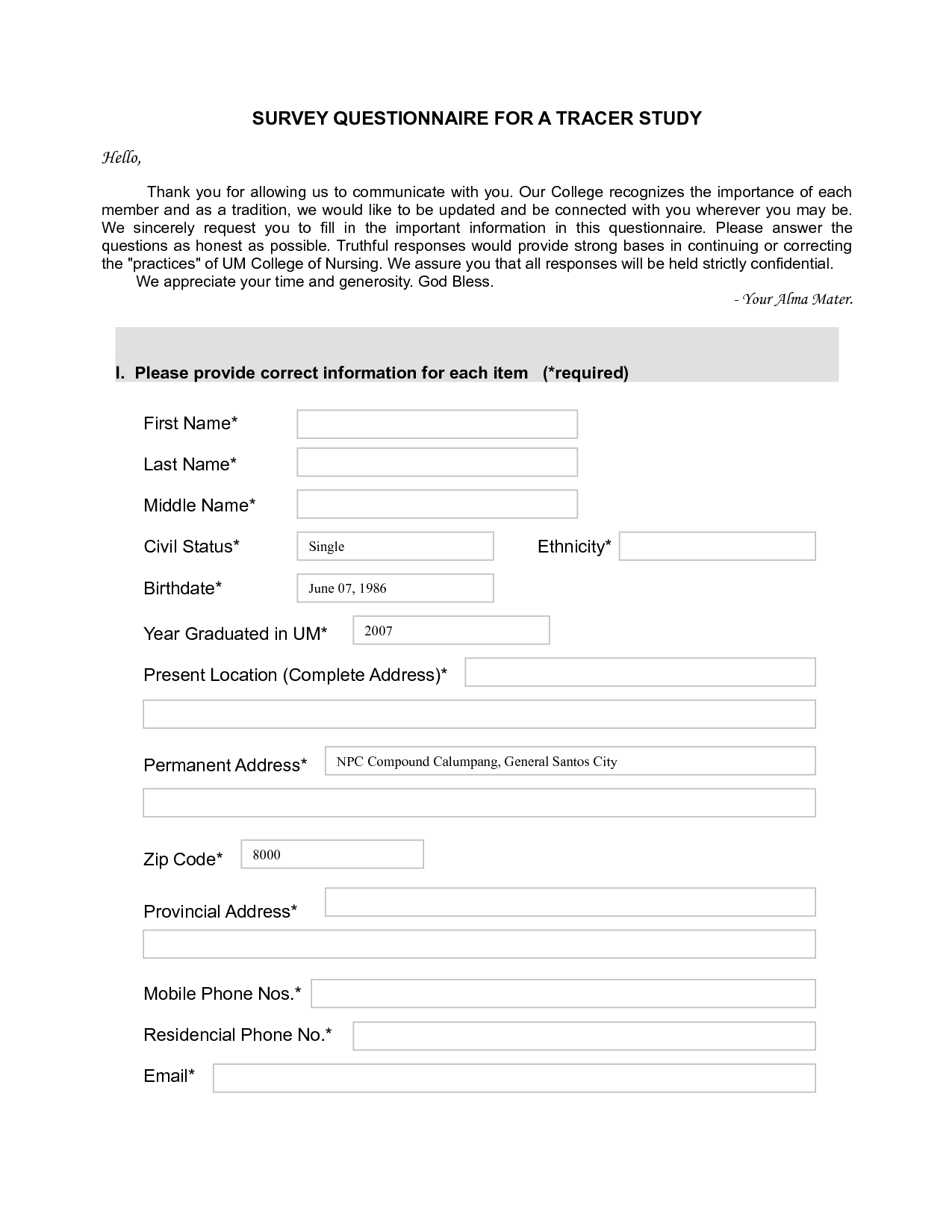 Top 5 resources to get free sample survey templates word for Template of a questionnaire