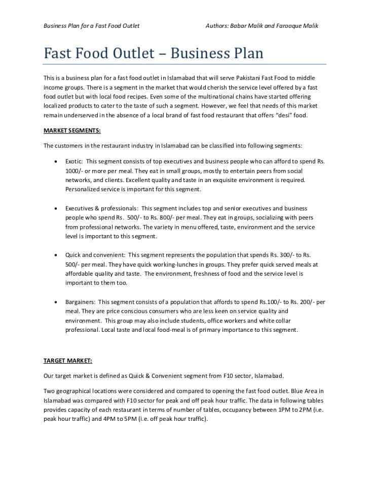 food business plan outline