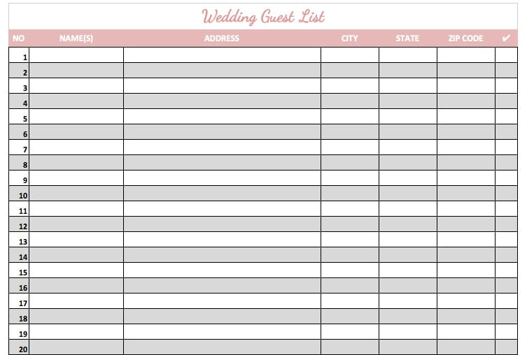 Doc779602 Wedding Guest Lists Template Wedding Guestlist – Wedding Guest Lists Template