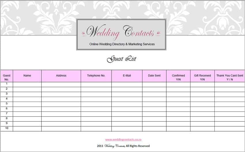 Top 5 Resources To Get Free Wedding Guest List Templates   Word Templates,  Excel Templates  Guest List Sample